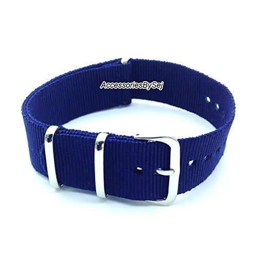 AccessoriesBySej NATO G10 Strap Militär Nylon Uhrenarmband Armband Watch Strap - Verschiedenen Größen 18mm, 20mm, 22mm, 24mm - Verfügt über Luxuriöse Geschenktüte TM- (Navy Blau, 22mm)