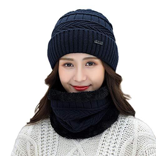 BiaBai Invierno Felpa Engrosamiento Sombrero de Punto Babero Moda cálido Transpirable a Prueba de Viento Caminata esquí Paseo un Regalo en Bicicleta