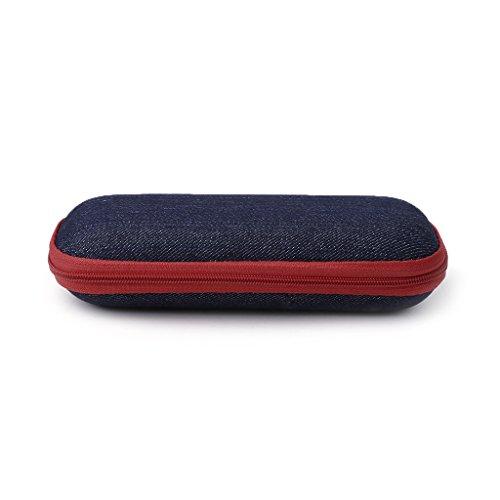 Exing - Caja de gafas de tela vaquera con cremallera y gafas de sol, funda de protección para la caja de resistencia a la aplastamiento, color rojo