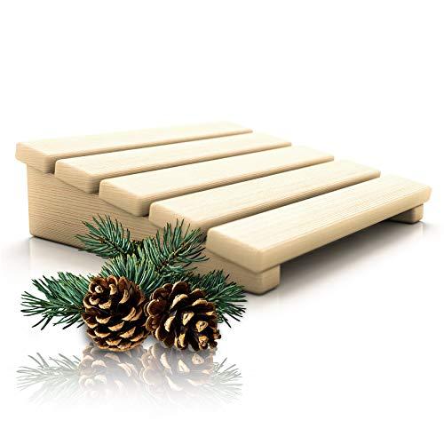 CozyNature Sauna Kopfstütze/Rückenlehne aus hochwertigem finnischem Kiefernholz   2in1 Sauna Zubehör   Überarbeitet und verbessert   100% handgefertigt aus nachhaltigem Holz   Naturbraun