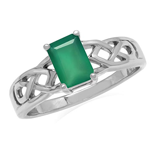 Silvershake 7X5mm Natural Octagon Shape Emerald Green Agate 925 Sterling Silver Celtic Knot Solitaire Ring Size 8