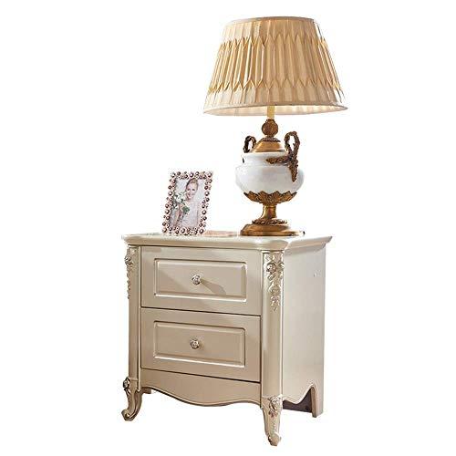 HYY-YY Mesita de noche minimalista europea pintada a mano de plata francesa tallada blanca gabinete de almacenamiento pequeño gabinete mesita de noche mesita de noche mesa de esquina