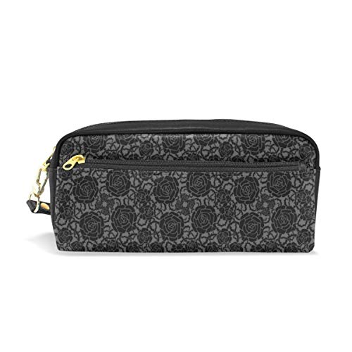 Lawenp Pencil Case Stylish Print Medieval Flower Pattern Black Plant European Art Pattern Large Capacity Pen Bag Makeup Pouch Durable Students Stationery Two Pockets with Double Zipper