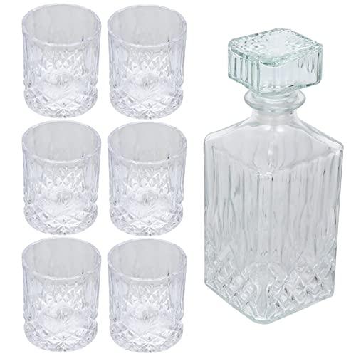 Lurrose Juego de 7 Unidades de Decantador de Whisky Y Set de Decantador de Whisky con Vidrio en Caja de Regalo Juego de Decantador de Vidrio de Licor para