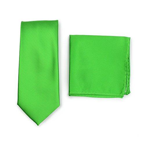 Puccini PUCCINI Krawatte + Einstecktuch ? Einfarbig/Uni in ausgewählten Farben ? Handarbeit (Apfelgrün)