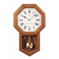 Seiko Light Oak Traditional Schoolhouse Wall Clock with Chime & Pendulum