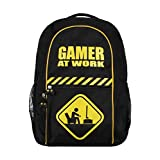 GAMER AT WORK Large Black & Yellow Backpack 48cm x 40cm School Work Rucksack