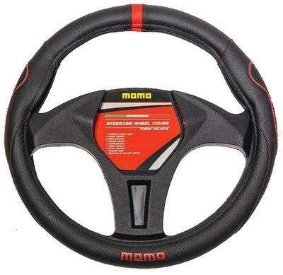 MOMO MOMLSWC014BR Funda de Volante para Automóviles, Negro/rojo