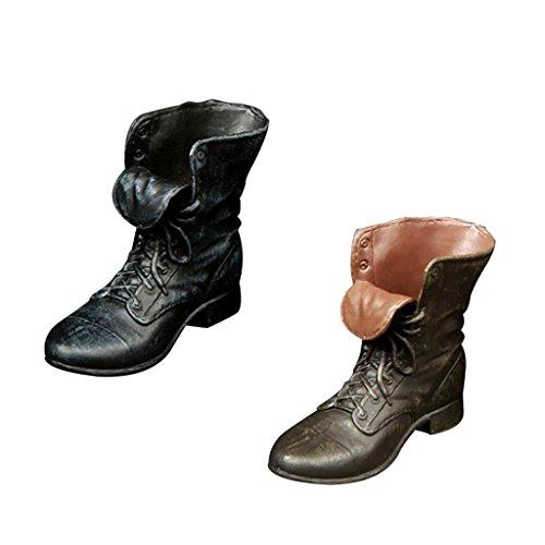 2 Paar 1/6 Mannelijke Actiefiguurschoenen - Korte Laarzen / Enkellaarzen / Rubberen Laarzen - Bruin + Zwart