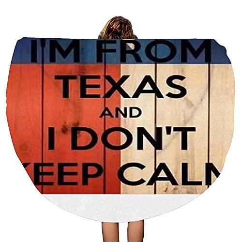I 'm from Texas Flag Manta de Toalla de Playa Redonda Gruesa Throw Mandala Microfiber Bohemian Circle Style Oversized Extra Large Yoga Mat Cubierta de Mesa