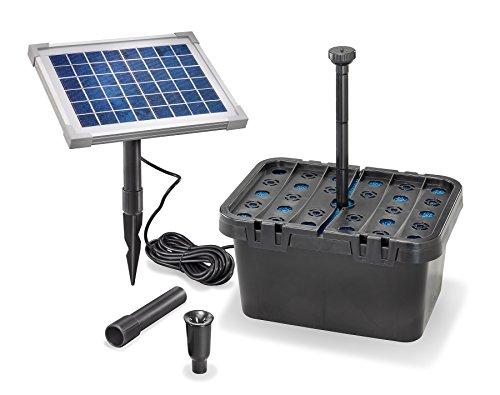 Solar Teichfilterset Starter 470 l/h Förderleistung 5 W Solarmodul Komplettset bis 1000l Gartenteich 101065