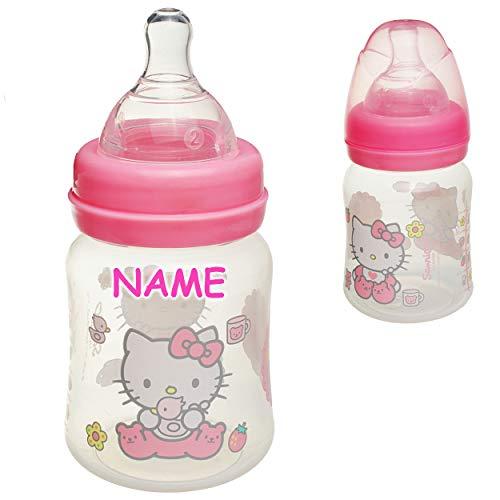 alles-meine.de GmbH kleine _ Babyflasche - Trinkflasche - Hello Kitty - Katze - inkl. Name - 200 ml / 150 ml - BPA frei - ab Geburt - mitwachsend - 3 Positionen - für jedes Alter..