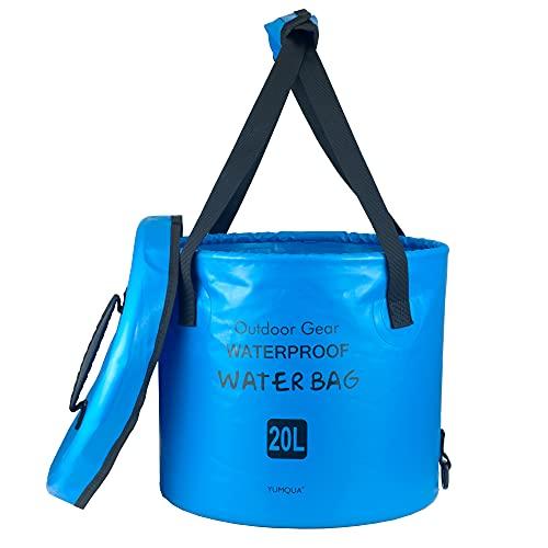 YUMQUA Secchio Pieghevole con Coperchio, Secchio Pieghevole Portatile Contenitore per Acqua Lavabo per Campeggio Pesca Escursionismo Viaggi all'aperto Giardinaggio Lavaggio Auto (Blu, 10L)