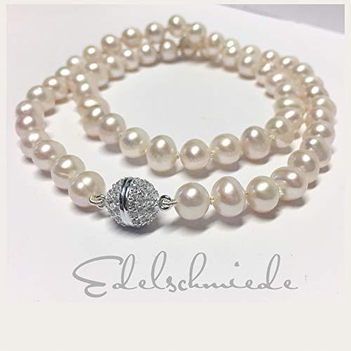 weiße Perlenkette mit Magnetverschluß 925 Silber rhod. + Zirkonia 51cm