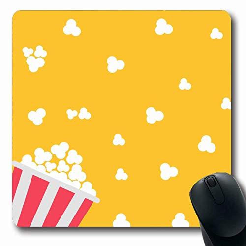 Jamron Mousepad OblongPopcorn Pop Snack Trend Salz Moderne Tasche Kino Unterhaltung Flaches Design in Essen Trinken Rote Gegenstände Rutschfeste Gummimaus Pad Büro Computer Laptop Spiele Mat.-Nr.