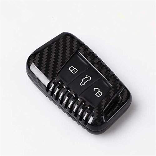 M.JVisun Genuine Carbon Fiber Key Fob Cover for Volkswagen Arteon Atlas Golf Alltrack Jetta Passat for Tiguan for Skoda Kodiaq Superb A7 Smart Car Remote Key, Car Key Fob Case for Men Women - Black