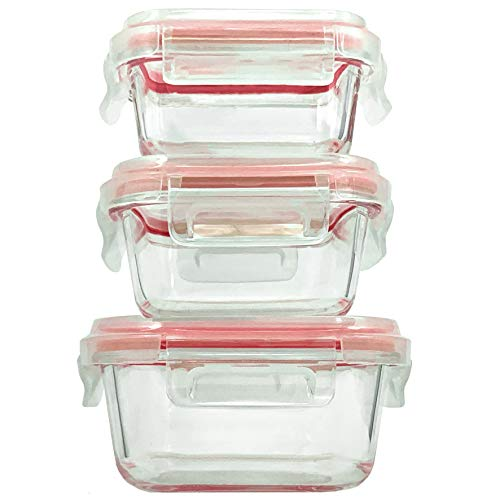 Home Fleek - Envases de Vidrio para Alimentos | 3 Recipientes + 3 Tapas | Herméticos | Sin BPA (Set 3, Cuadrado Rojo)