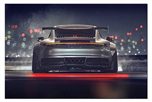 Leinwand-Bild Auto Porsche 911 GT3 Sportwagen Wandbild Automobil Bilder Grafik Abstrakt Kunstdruck