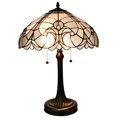 Amora Lighting Tiffany Style Table Lamp Banker Floral 23' Tall Stained Glass White Grey Elegant Vintage Antique Light Décor Nightstand Living Room Bedroom Office Handmade Gift AM204TL16, 90 Piece