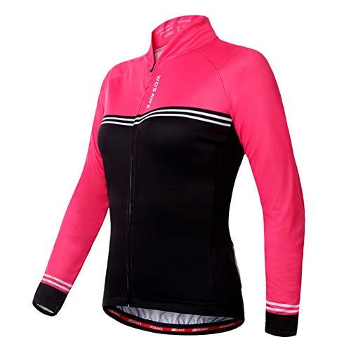 Manches Longues Vélo Shirt pour Les Femmes, Cyclisme Top avec 3 Poches Classiques Et Bande Réfléchissante, Anti-Sueur Et Perméable À L'air,XL