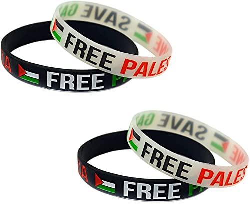 Banda de muñeca de Goma de Silicona para Palestina Libre Save Gaza, Pulsera Deportiva de motivación Libre de Gaza con Bandera Palestina, 4 Piezas