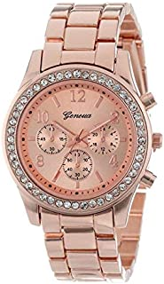 JIANGNIAU Watches Women Alloy Diamond Atainless Steel Belt Watch(Gold with Diamond) (Color : Rose Gold with Diamond)