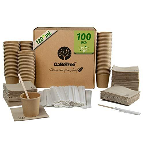 GoBeTree 100 Vasos de café Desechables Kraft con PLA para café expreso de 120 ml con agitadores de Madera en Funda de Papel para café y servilletas recicladas