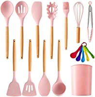 MegiKio Silicone Kitchen Utensils Cooking Set-11PCS Kitchen Utensils Set with Wooden Handles-Include Turner Tongs...
