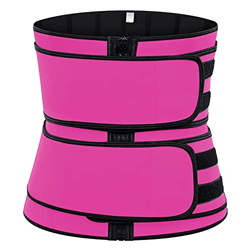 LIUJIU - Canottiera da donna, a compressione, a maniche lunghe, per allenamento sotto il busto e la pancia, colore rosa, L