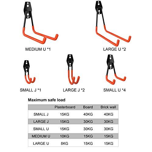 NOUVCOO 10 Pcs Heavy Duty Garage Storage Utility Hooks, Wall Mount Tool Holder Different Size Double U Hook with Anti-Slip Coating NC20