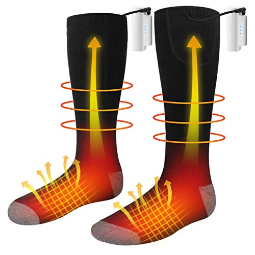 JulyPanny Heated Socks, Unisex Battery Powered Comfortable Thermo-Socks with 3 Heating Settings, Rechargeable Heated Socks for Motorcycle/Chronically Cold Feet/Winter Sport/Outdoor