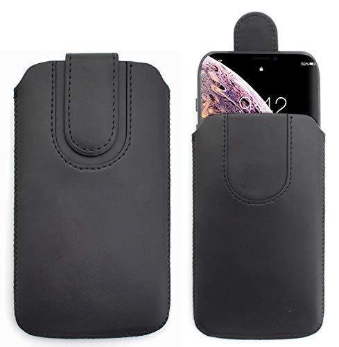 Sweet Tech Schutz-Tasche [SCHWARZ] für Oukitel K4000 Plus - Pu Leder Schutzhülle herausziehbar genaeht mit Rausziehband & magnetischen Schneller