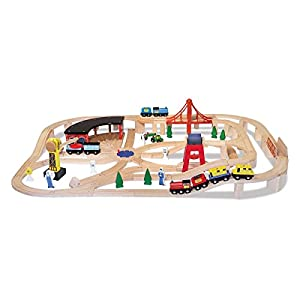 Melissa Amp Amp Doug Wooden Train Table And 130 Piece