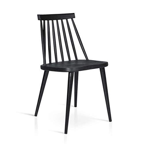 Milani Home s.r.l.s. Sedia Moderna di Design in Metallo Nera per Arredo Interno Casa Cucina Sala da Pranzo Studio Ristorante