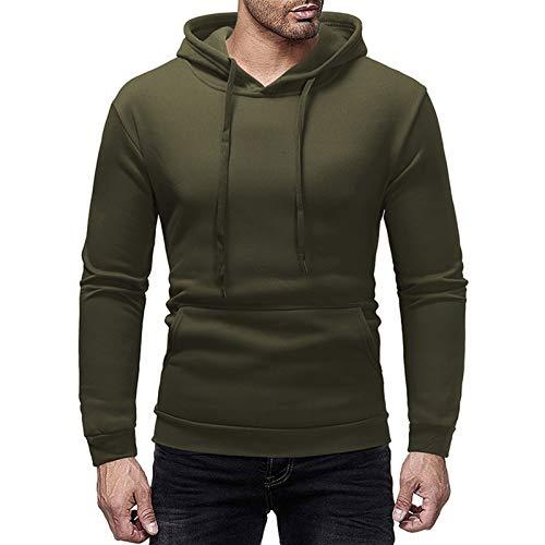 JIAYU Sudadera deportiva para hombre de color sólido, con capucha, color vino, rojo, gris oscuro, verde militar, negro (color: verde militar, tamaño: XL)