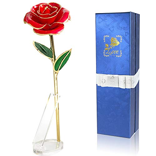Niser 24k Gold Rose, Artificial Flowers Red Rose Flowers Golden Rose for Wife Mother Girlfriend Women Gifts,Mothers Day Birthday, Free Transparent Stand