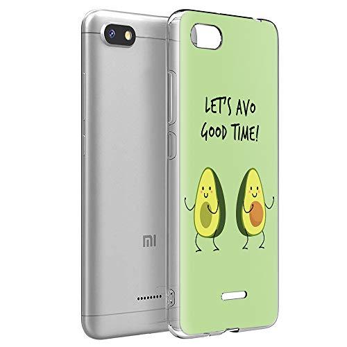 Pnakqil Funda Xiaomi Redmi 6A, Silicona Transparente con Dibujos Diseño Slim TPU Antigolpes Ultrafina de Protector Piel Case Cover Cárcasa Fundas para Movil Xiaomi Redmi6A, Aguacate Verde
