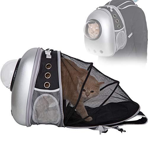 PETTOM 猫 キャリー リュック 宇宙船 拡張 カプセル 猫 キャリーバッグ リュック ペットキャリー 耐荷重7Kg 犬 猫 リュック ハード お出かけ お散歩 避難グッズ (シルバー新型)
