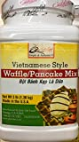 """Make Delicious Vietnamese pandan pancakes or waffles at home! QUOC VIET BRAND MADE IN USA BOT BANH KEP LA DUA Vietnamese coconut pandan waffles are made with coconut milk and pandan flavor. Pandan is the """"vanilla"""" of Southeast Asia, and it is what gi..."""