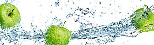 wandmotiv24 Küchenrückwand grüner Apfel 210 x 60cm (B x H) - Hartschaum 3mm Nischenrückwand Spritzschutz Fliesenspiegel-Ersatz M0736