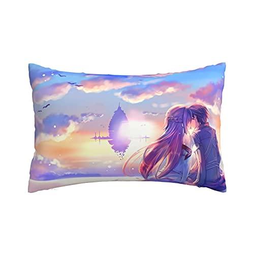 Sword Art Online - Funda de almohada con cremallera invisible, lino decorativo, duradero, estilo fresco, de algodón, bolsa doble, color negro, verano, 35,5 x 50,8 cm