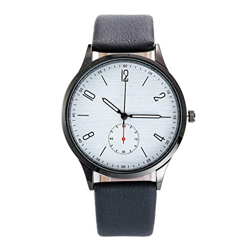 Quartz Wristwatch Sale Mens kolila Fashion Simple Unobtrusive Business Belt Watches Stainless Steel with Round DialCase Faux Leather Watch (B)