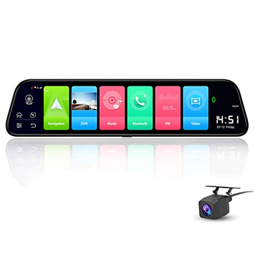 SZKJ D50 30,5 cm (12 Zoll) Vollbildschirm 4G Touch IPS Auto Dashcam Rückansicht Android 8.1 Spiegel mit WiFi GPS Navi Bluetooth Musik Dual Lens FHD 1080P