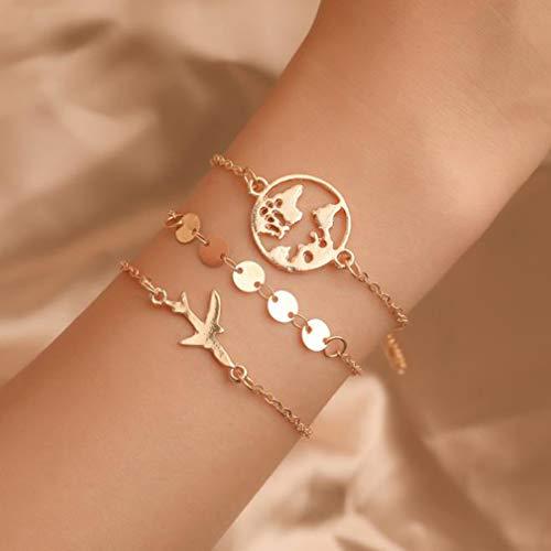 Weiy 3pcs Geschichteten Armband stapelbar Wrap Armreif Boho Armband einstellbar Charm Anhänger Stack Armbänder für Frauen, Gold1