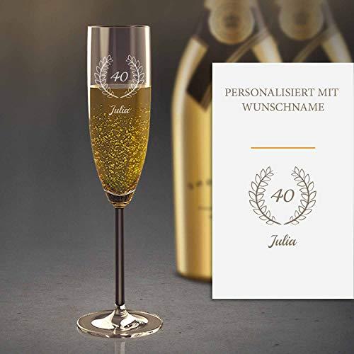 Sektglas Personalisiert mit Gravur (40. Geburtstag) | Edles Sekt-Glas mit Namen | Personalisierte individuelle Geschenkidee | Geeignet für Champagner & Sekt
