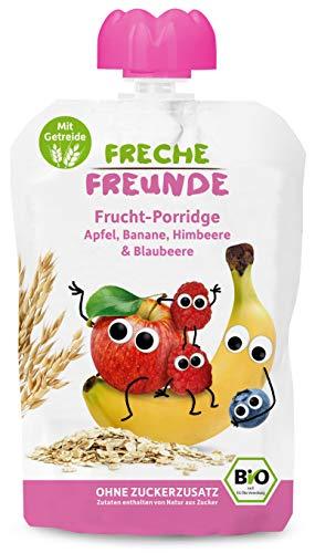 FRECHE FREUNDE Bio Quetschie Frucht-Porridge Apfel, Banane, Himbeere & Blaubeere, Fruchtmus mit Hafer & Reis im Quetschbeutel für Kinder & Babys ab 6 Monaten, 600 g 521823