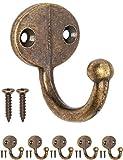 FUXXER® – Perchero de pared antiguo, perchero, perchero, perchero, perchero, perchero, perchero, perchero, perchero, de latón, diseño vintage rústico, ovalado, juego de 5