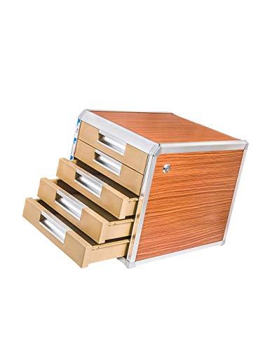 File cabinets 5th Floor Desktop Aluminum Alloy + Wood Board + Plastic File Holder Storage Box Family Office Cabinet Desktop Archive Storage Manager bookcase