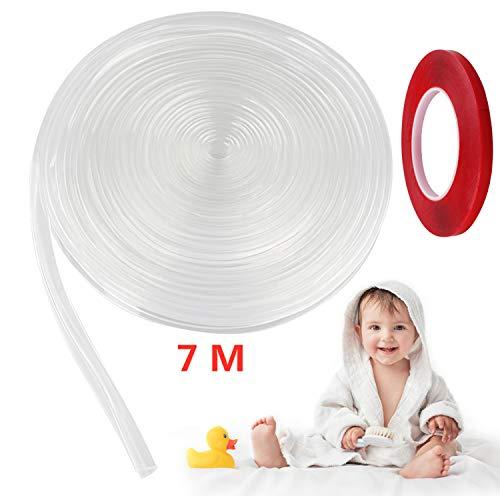 Eckenschutz Silikon 1 Rollen Tisch Möbel Kantenschutz für Baby Kinder Schutz Transparent mit 1 Rollen Klebeband 7m Lang 1cm Breit