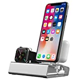 CQTECH - Soporte de Carga de Aluminio 3 en 1 para Apple Watch Series 4/3/2/1 y iPhone Airpods, sin Cargador (Plata)
